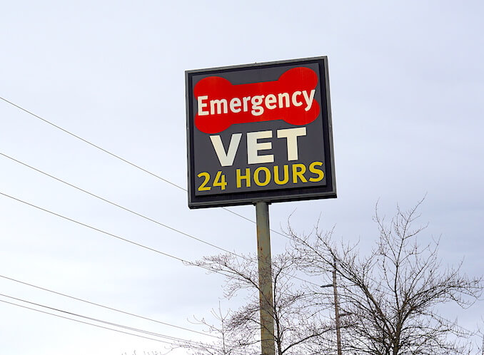 Exterior Emergency Vet 24 Hours Sign